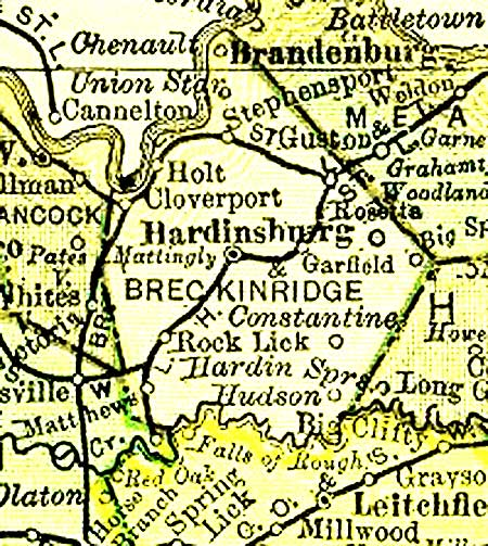 Map of Breckinridge County